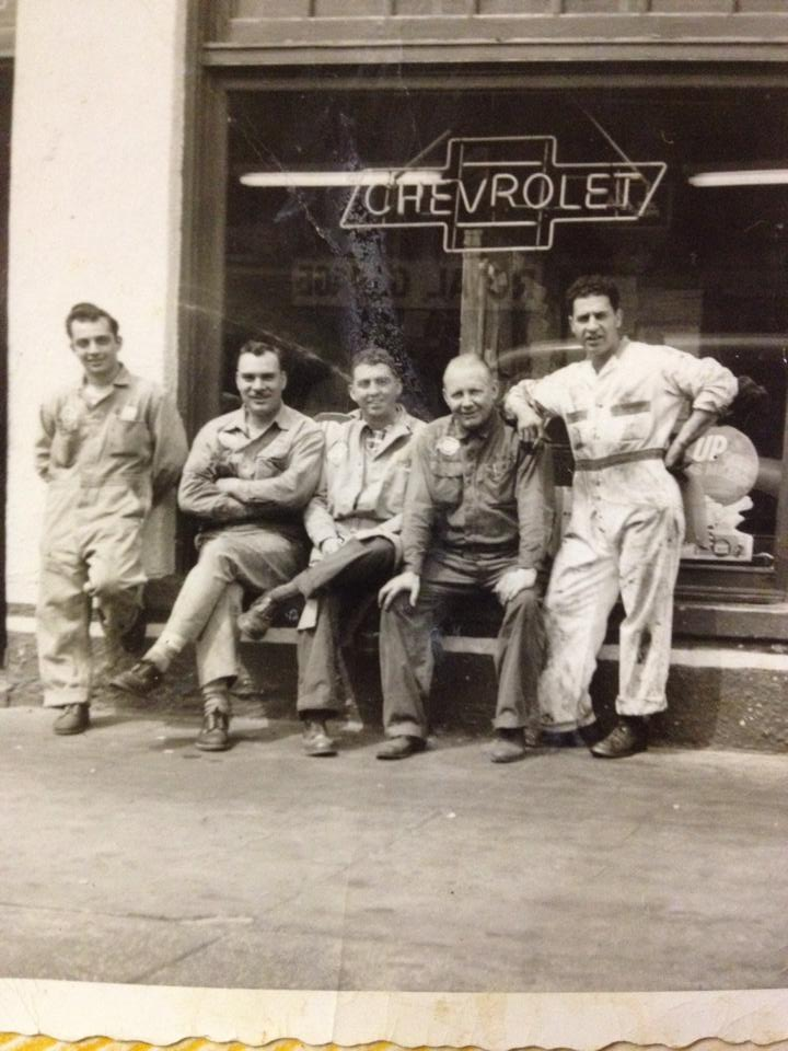 My grandfather (center) when at worked at Kinney Motors on Coney Island Avenue.